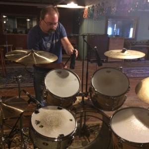Mic'ing the drums.