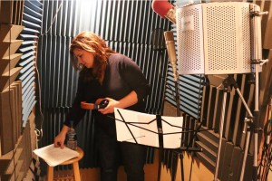 Kari in the vocal booth